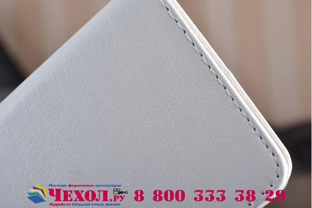 Фирменный чехол-книжка из качественной импортной кожи с подставкой застёжкой и визитницей для Wileyfox Swift 2 Plus/ Вайлефокс Свифт 2 Плюс белый