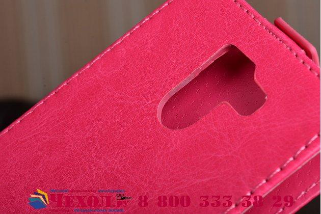 Фирменный оригинальный вертикальный откидной чехол-флип для Wileyfox Swift 2 Plus / Вайлефокс Свифт розовый из натуральной кожи Prestige Италия