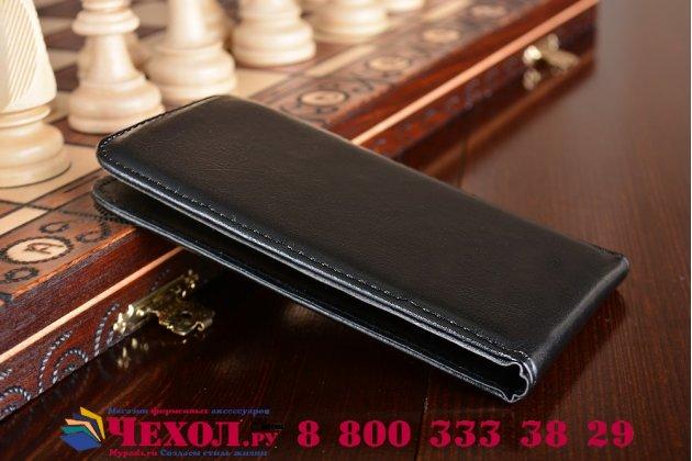 Фирменный оригинальный вертикальный откидной чехол-флип для Wileyfox Swift 2 /Вайлефокс Свифт черный из натуральной кожи Prestige Италия