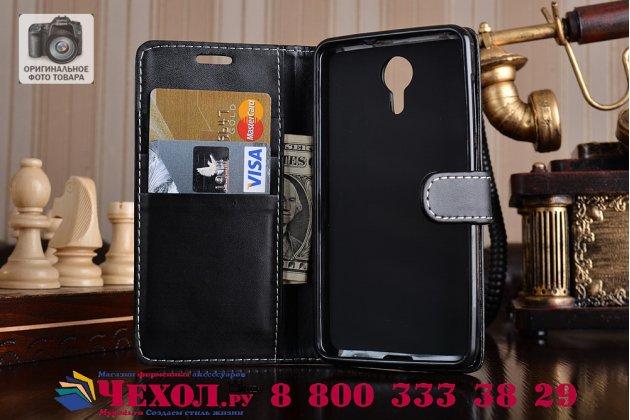 Фирменный чехол-книжка из качественной импортной кожи с подставкой застёжкой и визитницей для Wileyfox Swift черная