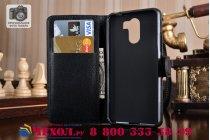 Фирменный чехол-книжка из качественной импортной кожи с подставкой застёжкой и визитницей для Wileyfox Swift 2 Plus/ Вайлефокс Свифт 2 Плюс черный