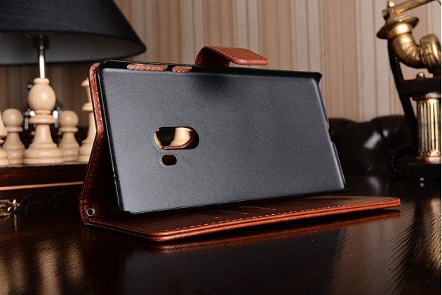 """Фирменный чехол-книжка из качественной импортной кожи с подставкой застёжкой и визитницей для Xiaomi MI MIX 6.4"""" коричневый"""