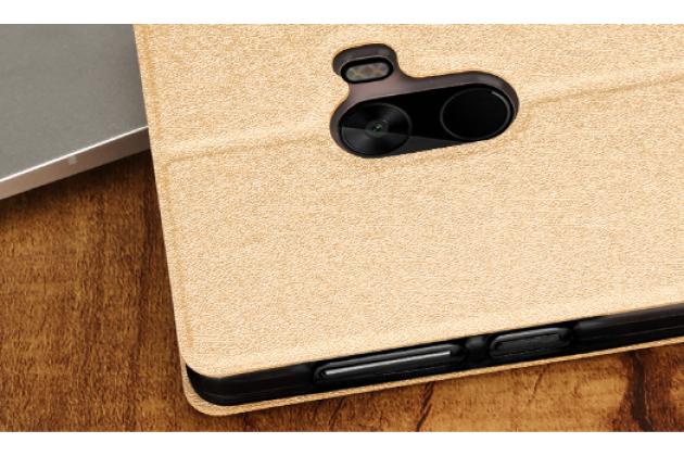 """Фирменный чехол-книжка водоотталкивающий с мульти-подставкой на жёсткой металлической основе для Xiaomi MI MIX 6.4"""" золотой"""