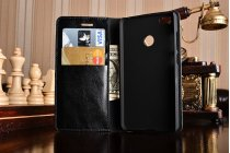 Фирменный чехол-книжка из качественной импортной кожи с подставкой застёжкой и визитницей для Xiaomi Mi 4S черный
