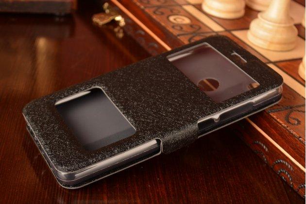 Фирменный чехол-книжка  с окошком для входящих вызовов и свайпом  для Xiaomi Mi 4S водоотталкивающий черный