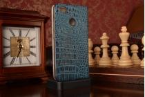 Фирменный роскошный эксклюзивный чехол с объёмным 3D изображением рельефа кожи крокодила синий для Xiaomi Mi 4S. Только в нашем магазине. Количество ограничено