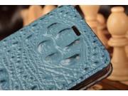 Фирменный роскошный эксклюзивный чехол с объёмным 3D изображением рельефа кожи крокодила синий для Xiaomi Mi 4..