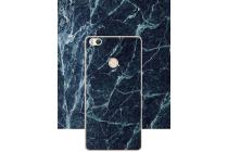 Фирменная из тончайшего прочного пластика задняя панель-крышка-накладка с рисунком под мрамор для Xiaomi Mi 4S  цвет малахит