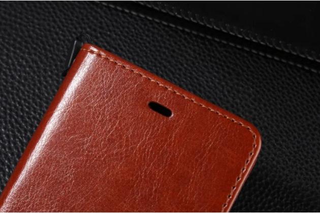 Фирменный чехол-книжка из качественной импортной кожи с подставкой застёжкой и визитницей для Xiaomi Mi 4S коричневый