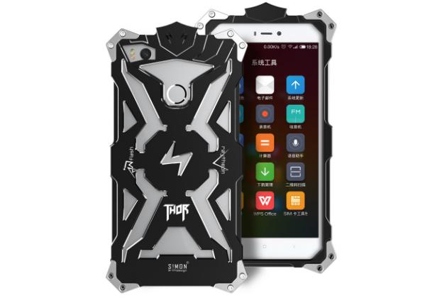 Противоударный металлический чехол-бампер из цельного куска металла с усиленной защитой углов и необычным экстремальным дизайном  для Xiaomi Mi 4S черного цвета