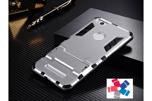 Противоударный усиленный ударопрочный фирменный чехол-бампер-пенал для Xiaomi Mi 4S серый