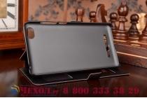 Фирменный чехол-книжка для Xiaomi Mi 4c черный с окошком для входящих вызовов и свайпом водоотталкивающий