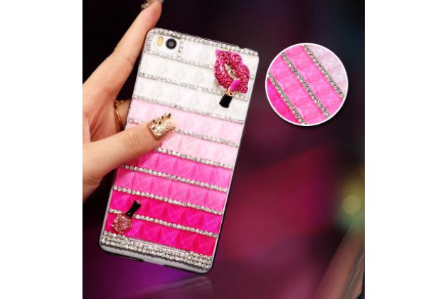 Фирменная роскошная элитная пластиковая задняя панель-накладка украшенная стразами кристалликами и декорированная элементами для Xiaomi Mi 4i/4с розовая