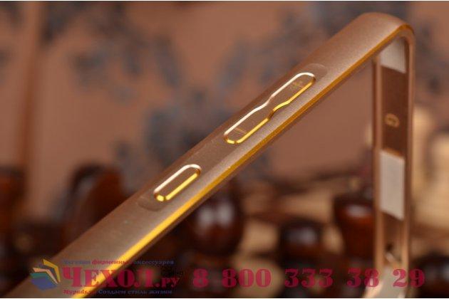Фирменный оригинальный ультра-тонкий чехол-бампер для Xiaomi Mi 4c золотой металлический