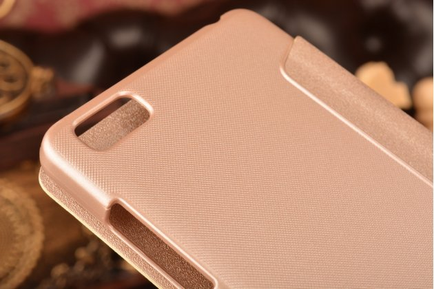 Фирменный оригинальный чехол-книжка для Xiaomi Mi 4i/Xiaomi Mi 4c шампань золотой кожаный