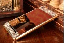 Фирменная металлическая задняя панель-крышка-накладка из облегченного авиационного алюминия украшенная стразами и кристалликами  для Xiaomi Mi 4i/4с золотая