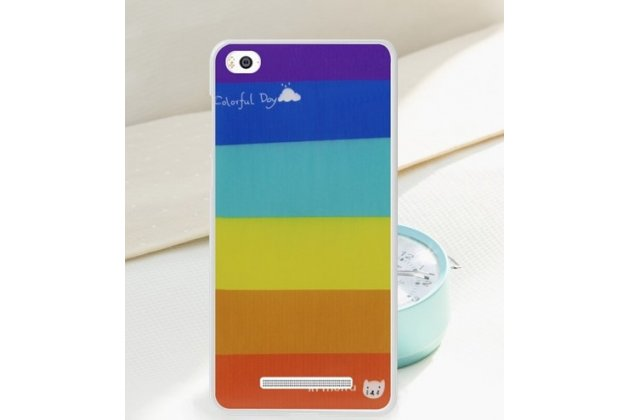 """Фирменная необычная ультра-тонкая полимерная из мягкого качественного силикона задняя панель-чехол-накладка для Xiaomi Mi 4c """"тематика Все цвета Радуги"""""""