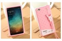 """Фирменная необычная уникальная полимерная мягкая задняя панель-чехол-накладка для Xiaomi Mi 4c """"тематика Андроид в клубничном шоколаде"""""""