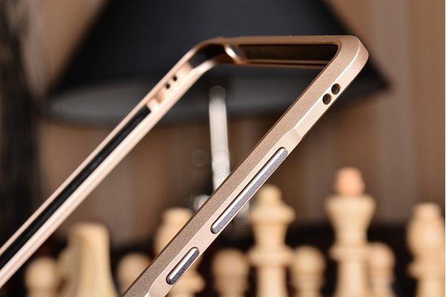 """Фирменный оригинальный ультра-тонкий чехол-бампер со стразами для Xiaomi Mi5s 5.15"""" золотой металлический"""