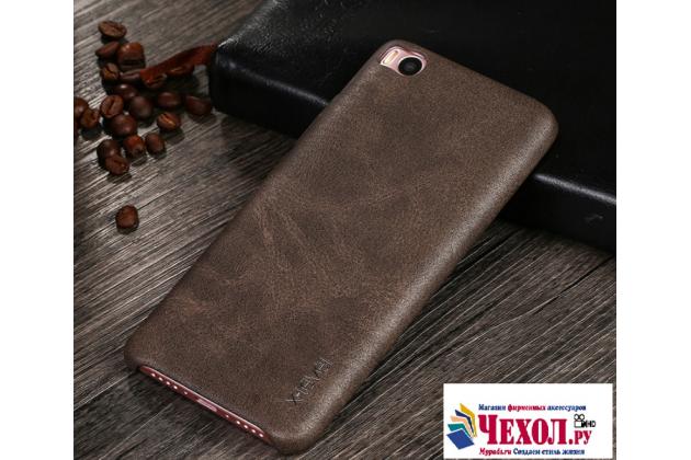 """Фирменная премиальная элитная крышка-накладка из тончайшего прочного пластика и качественной импортной кожи для Xiaomi Mi5s 5.15""""  Ретро под старину коричневая"""