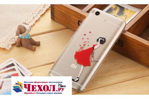 """Фирменная задняя панель-чехол-накладка из прозрачного 3D  силикона с объёмным рисунком для Xiaomi Mi5s 5.15""""  """"тематика Красное платье"""" которая огибает логотип чтобы была видна марка телефона"""