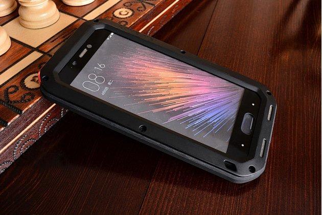 """Неубиваемый водостойкий противоударный водонепроницаемый грязестойкий влагозащитный ударопрочный фирменный чехол-бампер для Xiaomi Mi5 5.0"""" цельно-металлический со стеклом Gorilla Glass"""