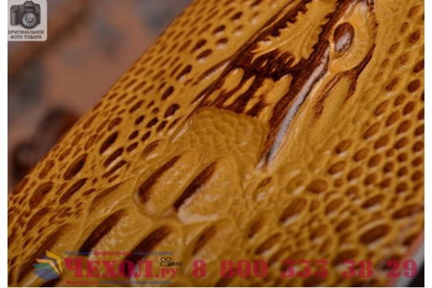 Фирменный роскошный эксклюзивный чехол с объёмным 3D изображением кожи крокодила коричневый для Xiaomi Mi Edge . Только в нашем магазине. Количество ограничено