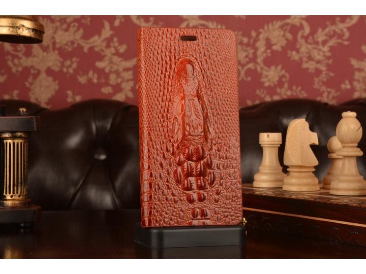 Фирменный роскошный эксклюзивный чехол с объёмным 3D изображением кожи крокодила коричневый для Xiaomi Mi Note..
