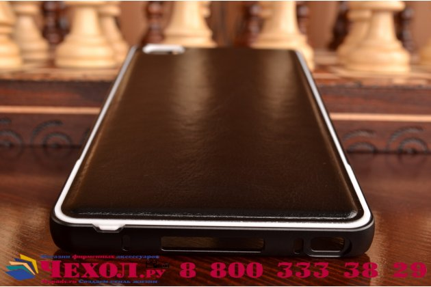 Фирменная роскошная элитная премиальная задняя панель-крышка на металлической основе обтянутая импортной кожей для Xiaomi Mi Note/Mi Note Pro королевский черный