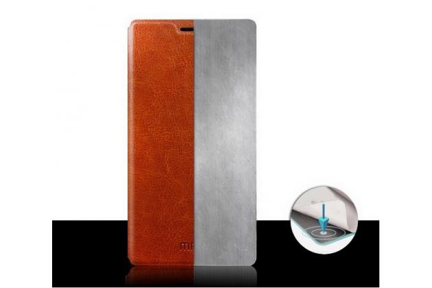 Фирменный чехол-книжка из качественной водоотталкивающей импортной кожи на жёсткой металлической основе для Xiaomi Mi Note/Mi Note Pro коричневый
