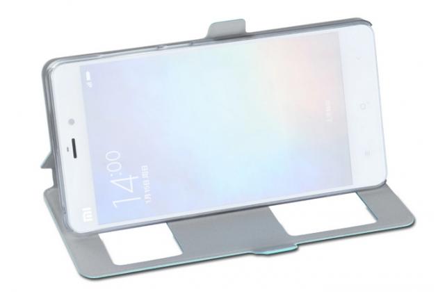 Фирменный чехол-книжка для Xiaomi Mi Note/Mi Note Pro золотой с окошком для входящих вызовов и свайпом водоотталкивающий