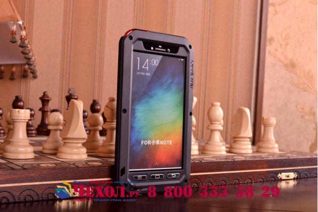 Неубиваемый водостойкий противоударный водонепроницаемый грязестойкий влагозащитный ударопрочный фирменный чехол-бампер для Xiaomi Mi Note/Mi Note Pro цельно-металлический со стеклом Gorilla Glass