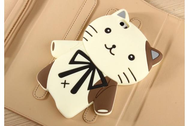"""Фирменная задняя панель-чехол-накладка с объёмным 3D изображением для Xiaomi Mi Note/Mi Note Pro  """"тематика кот Джентельмен"""" бежевая"""