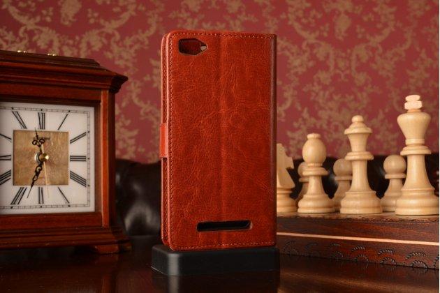 Фирменный чехол-книжка из качественной импортной кожи с застёжкой и мультиподставкой для Xiaomi Mi 4i/4c коричневый