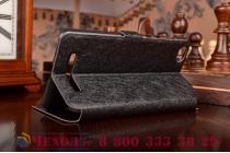 Фирменный чехол-книжка для Xiaomi Mi 4i черный с окошком для входящих вызовов и свайпом водоотталкивающий