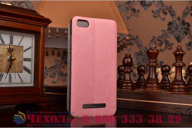 Фирменный чехол-книжка из качественной водоотталкивающей импортной кожи на жёсткой металлической основе для Xiaomi Mi 4i / Xiaomi Mi 4c розовый