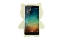 """Фирменная задняя панель-чехол-накладка с объёмным 3D изображением для Xiaomi Mi 4i  """"тематика кот Джентельмен"""" бежевая"""