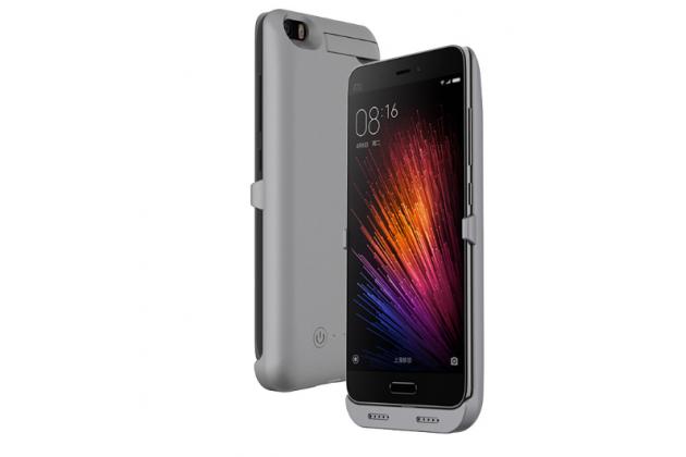 Чехол со встроенной усиленной батарей-аккумулятором большой повышенной расширенной ёмкости 4200mAh для Xiaomi Mi5 серый пластиковый + гарантия