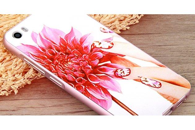 """Фирменная роскошная задняя панель-чехол-накладка из металла с объемным  3D изображением  на Xiaomi Mi5 с безумно красивым рисунком  """"Тематика Королевские Цветы"""""""