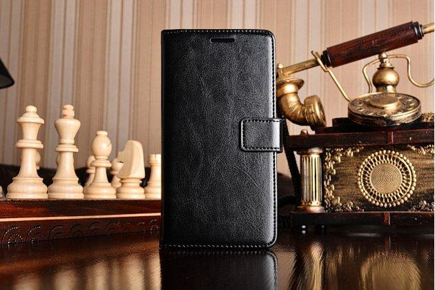 Фирменный чехол-книжка для Xiaomi Mi5  с визитницей и мультиподставкой черный кожаный