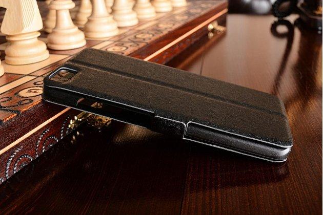 Фирменный чехол-книжка  с окошком для входящих вызовов и свайпом  для Xiaomi Mi5 водоотталкивающий черный