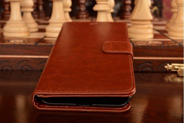 Фирменный чехол-книжка для Xiaomi Mi5 с визитницей и мультиподставкой коричневый кожаный