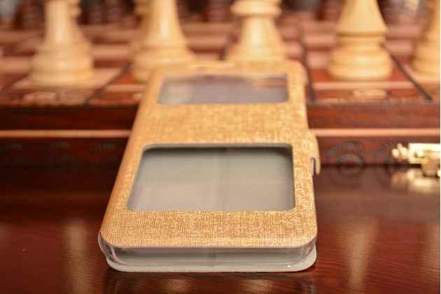 Фирменный чехол-книжка  с окошком для входящих вызовов и свайпом  для Xiaomi Mi5 водоотталкивающий золотой
