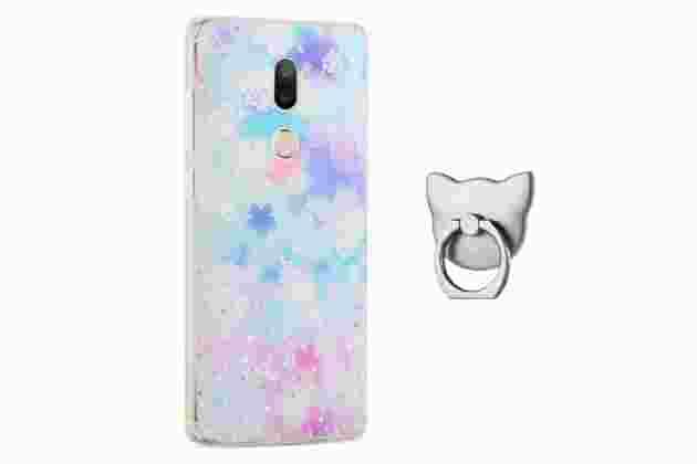 """Фирменная задняя панель-чехол-накладка из прозрачного 3D  силикона с объёмным рисунком для Xiaomi Mi5s Plus 5.7""""  """"тематика Лепестки"""" которая огибает логотип чтобы была видна марка телефона"""
