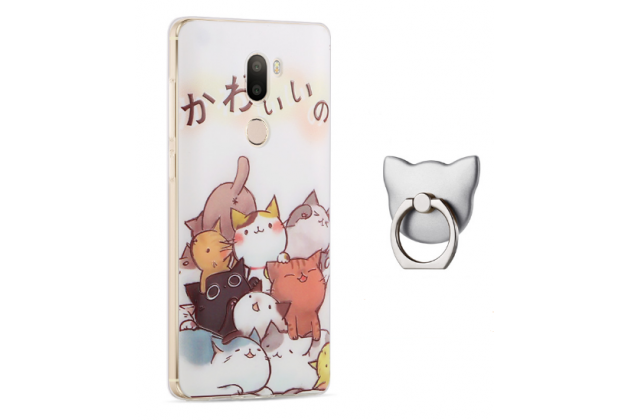 """Фирменная задняя панель-чехол-накладка из прозрачного 3D  силикона с объёмным рисунком для Xiaomi Mi5s Plus 5.7"""" """"тематика Веселые котята"""" которая огибает логотип чтобы была видна марка телефона"""
