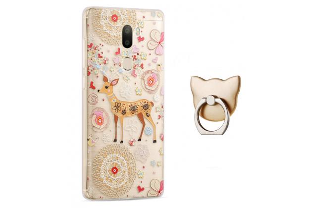 """Фирменная задняя панель-чехол-накладка из прозрачного 3D силикона с объёмным рисунком для Xiaomi Mi5s Plus"""" тематика """"оленя в цветах"""" которая огибает логотип чтобы была видна марка телефона"""