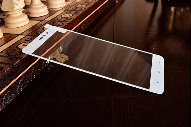 """Фирменное 3D защитное изогнутое стекло с закругленными изогнутыми краями которое полностью закрывает экран / дисплей по краям с олеофобным покрытием для Xiaomi Mi5s Plus 5.7"""" белое"""