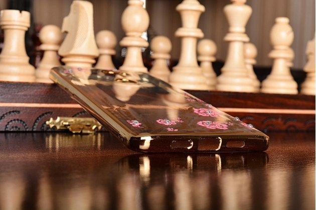 """Фирменная роскошная элитная силиконовая задняя панель-накладка для Xiaomi Mi5s Plus"""" декорированная стразами и кристаллами """" тематика Жар-Птица"""""""