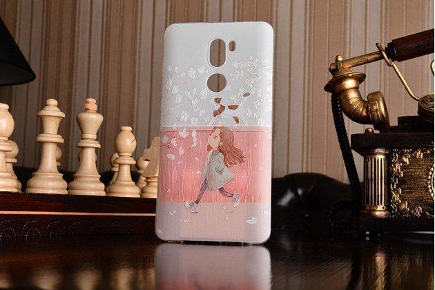 """Фирменная задняя панель-чехол-накладка из прозрачного 3D  силикона с объёмным рисунком для Xiaomi Mi5s Plus 5.7""""  """"тематика Девочка и кот"""" которая огибает логотип чтобы была видна марка телефона"""