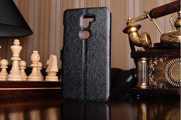 """Фирменный чехол-книжка для Xiaomi Mi5s Plus"""" черный с окошком для входящих вызовов и свайпом водоотталкивающий"""